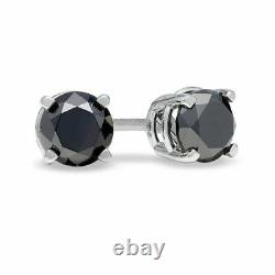 1.00 Carat Round natural Sapphire Stud Earrings, Heavy White Gold