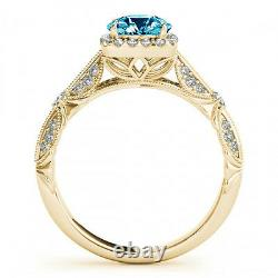 1.06 Carat Fancy Blue Diamond Engagement Ring New Style 14k Yellow Gold Classy