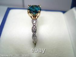 1.10 Carat Enhanced Fancy Blue Diamond Engagement Ring 14k White Gold Unique