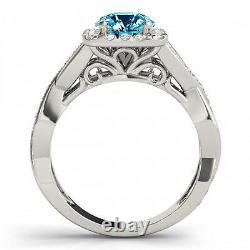 1.16 Carat Solitaire Blue Fancy Diamond Ring 14k White Gold Gorgeous Sparkling