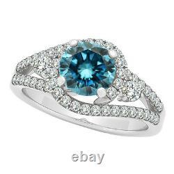 1.24 Carat Blue SI1 Round Diamond Solitaire Wedding Bridal Ring 14K White Gold