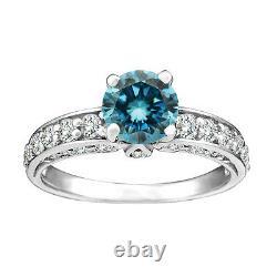 1.25 Carat Blue SI2 Round Diamond Solitaire Halo Bridal Ring 14K White Gold