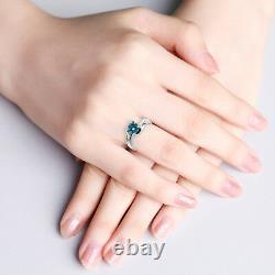 1.25 Carat Blue SI2 Round Diamond Solitaire Wedding Bridal Ring 14K White Gold