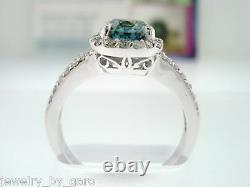 1.25 Carat Enhanced Blue And White Diamond Engagement Ring 14k White Gold Halo