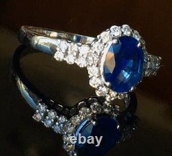1.30 Carat Sapphire and. 33 ct. T. W. Diamond Ring in 14kt White Gold Sz 8