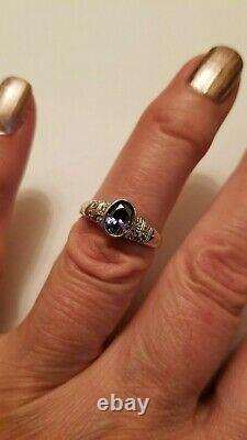 1.30 Carat Tanzanite & Genuine Diamond 10kt Solid White Gold Ring Size 7