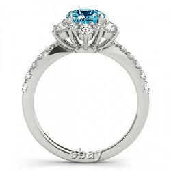 1.32 Carat Solitaire Blue Diamond Flower Halo Bridal Ring 14k White Gold Deal