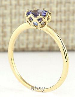 1.35 Carat Natural Tanzanite 14K Yellow Gold Ring