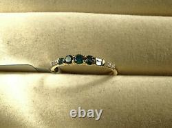 1/3Ct Blue & White Diamond Round & Baguette 9Carat Yellow Gold Ring Size N-O/7