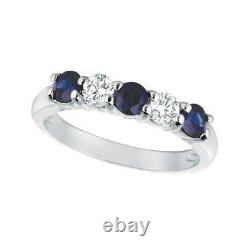1.40 Carat Natural Diamond & Sapphire Ring Band 14K White Gold