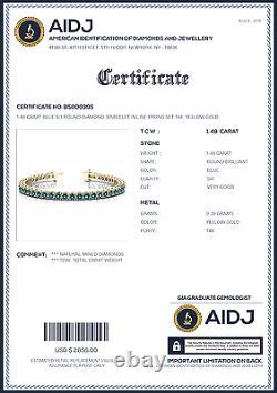 1.48 Carat SI1 Blue Round Diamond Prong Set Bracelet 14k Yellow Gold Women