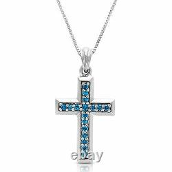 1/4 cttw Blue Diamond Cross Pendant Necklace 14K White Gold with Chain