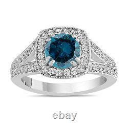 1.57 Carat Enhanced Blue Diamond Engagement Ring 14k White Gold Halo Handmade
