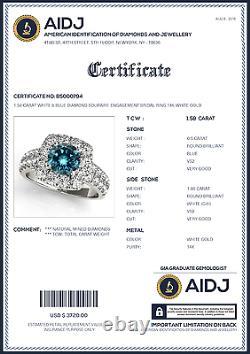 1.58 Carat White & Blue Diamond Solitaire Engagement Bridal Ring 14k White Gold