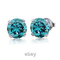 1/5 CT Blue Diamond Studs 14 Karat White Gold Color Enhanced