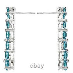 1.5 Carat Blue Round Diamond Journey Dangling Hoop Earrings 14K Whte Gold