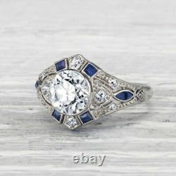 1.5 Ct. Carat Classic Art Deco Diamond Sapphire Engagement Sterling Silver Ring