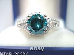 1.70 Carat Enhanced Blue Diamond Engagement Ring 14K White Gold Certified Halo