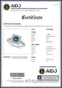 1.75 Carat Blue Round Diamond Halo Fancy Engagement Wedding Ring 14K White Gold