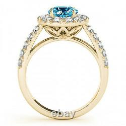 1.75 Carat Blue & White Diamond SI1 Solitaire Engagement Ring Best Deal 14k Gold
