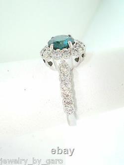 1.76 Carat Platinum Enhanced Fancy Blue Diamond Cocktail Ring Handmade Halo