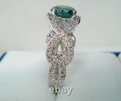 1.89 Carat Platinum Enhanced Blue Diamond Engagement Ring Unique Handmade