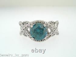 1.92 Carat Enhanced Blue Diamond Engagement Ring 14K White Gold Unique Certified