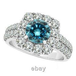1.98 Carat Blue SI1 Round Diamond Solitaire Wedding Bridal Ring 14K White Gold