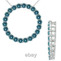 1 Carat Blue Round Diamond Circle Pendant Necklace 18 Chain 14K White Gold