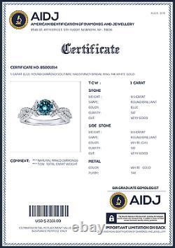1 Carat Blue Round Diamond Solitaire Halo Fancy Bridal Ring 14K White Gold ASAAR