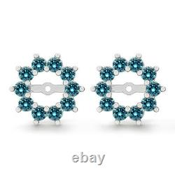 1 Carat Blue Round Diamond Solitaire Stud Earring Jackets Halo 14K WG ASAAR