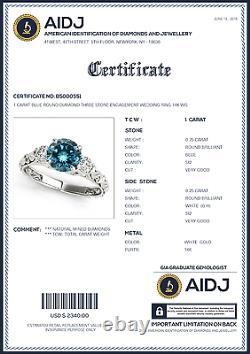 1 Carat Blue Round Diamond Three Stone Engagement Wedding Ring 14K WG ASAAR BEST