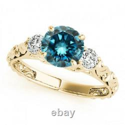 1 Carat Blue SI2 Round 3 Stone Engagement Ring 14k Yellow Gold Best Deal on Ebay