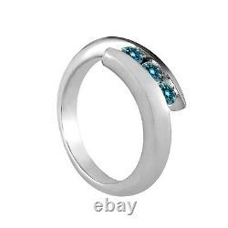 1 Carat Blue SI2 Round Diamond Solitaire 3 Stone Wedding Ring 14K White Gold
