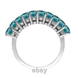 1 Carat Blue SI2 Round Diamond Solitaire Engagement Ring 14K White Gold