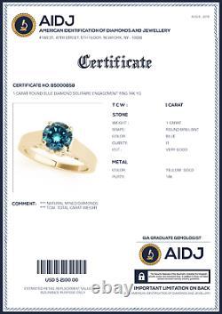 1 Carat Round Blue Diamond Solitaire Engagement Ring Best Price 14k YG ASAAR