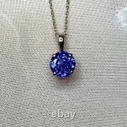 1 Carat Vivid Violet Blue Tanzanite Platinum Solitaire Round Pendant Necklace