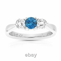 1 cttw Blue and White Diamond 3 Stone Engagement Ring 10K White Gold Size 7