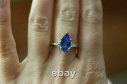 2.00Ct Pear Cut Blue Sapphire & Diamond Engagement Ring 14Karat White Gold Over
