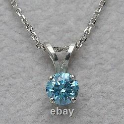 2.00 Carat Blue Diamond Solitaire Pendant Necklace 18 14K White Gold Finish