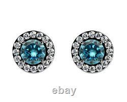 2.00 Carat Halo Martini Blue Diamond Studs 14K White Gold Womens Earrings Clean