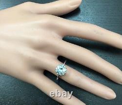 2.00 Carats Natural Aquamarine 14K Solid White Gold Ring