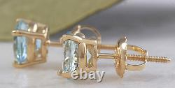 2.00 Carats Natural Aquamarine 14k Solid Yellow Gold Stud Earrings