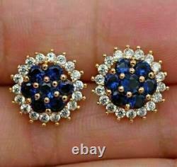 2.01Carat Round Cut Blue Sapphire & Diamond Stud 14Kt Yellow Gold Over Earrings