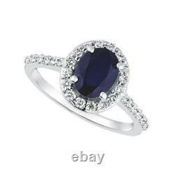 2.05 Carat Natural Diamond & Sapphire Engagement Ring 14K White Gold
