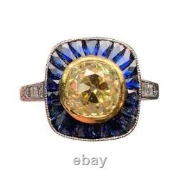 2.08 Carat Old Mine Cut Yellow Citrine With Blue Sapphire Art Deco Silver Ring