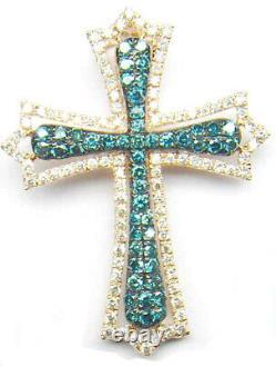 2.0 Carat Blue Diamond Cross Pendant/Necklace 14KT Yellow gold Over 18inch