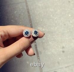 2.10 Carat Blue White Diamond Solitaire Double Halo Pair Earrings 14k White Gold