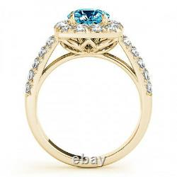 2.10 Carat Huge Blue and White Diamond Solitaire Halo Bridal Ring 14 Yellow Gold