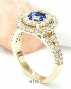 2.10 Carat Natural Sapphire 14K Solid Yellow Gold Diamond Ring
